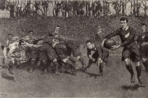 1905, mecz Anglia v Nowa Zelandia, zawodnicy All Blacks z numerami